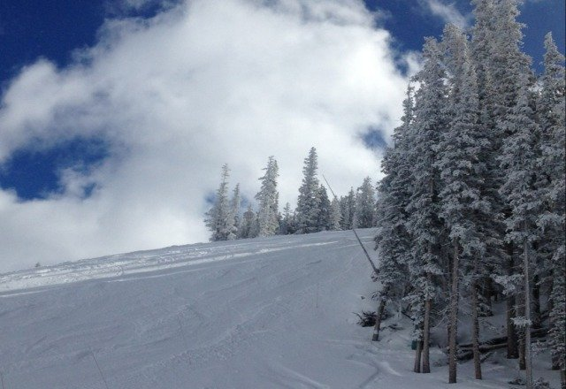 great skiing today!!  the sun broke through the clouds on top just before lunch.