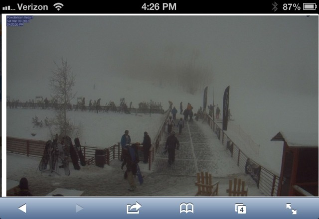 dude, it looks like it's puking up at Powderhorn right now....  tomorrow might be good......