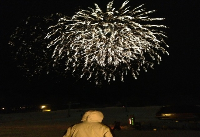 fireworks on saturday after a great but windy day of skiing!
