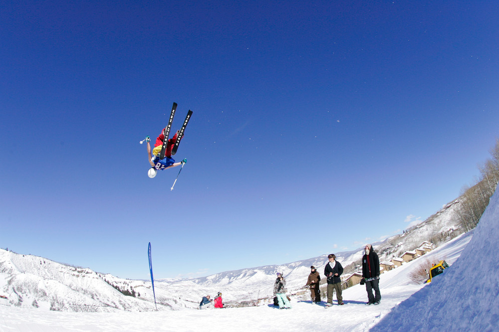 A skier gets air in the terrain park in Snowmass, Colorado