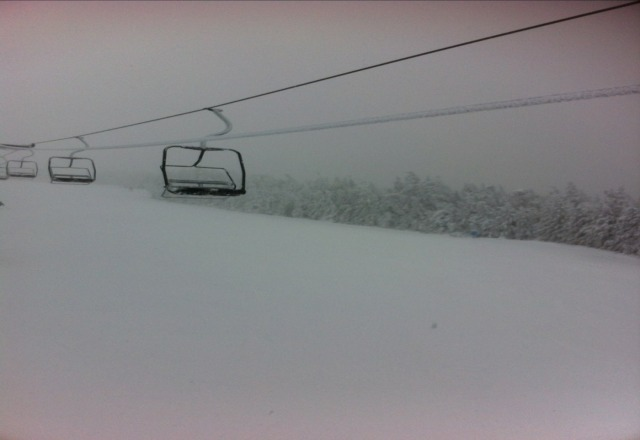 a bit hard and clumpy earlier on in the morning. Now loosening up with new snowfall. Going to be a great afternoon!