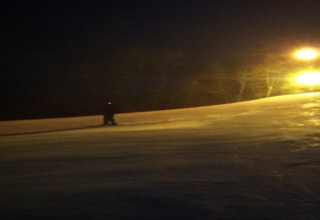 skiing yesterday evening while snowing was pretty good, tonight trails icy and snow from last night blown away.  no lines, practically had montain to ourselves.