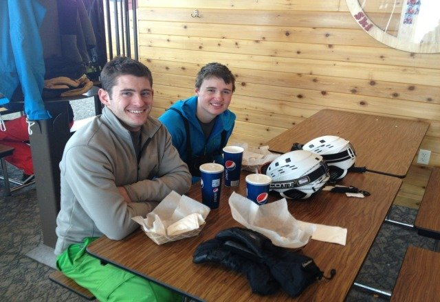 Refueling in the Beaver Mtn lodge after skiing 10+ new christmas eve morning :)
