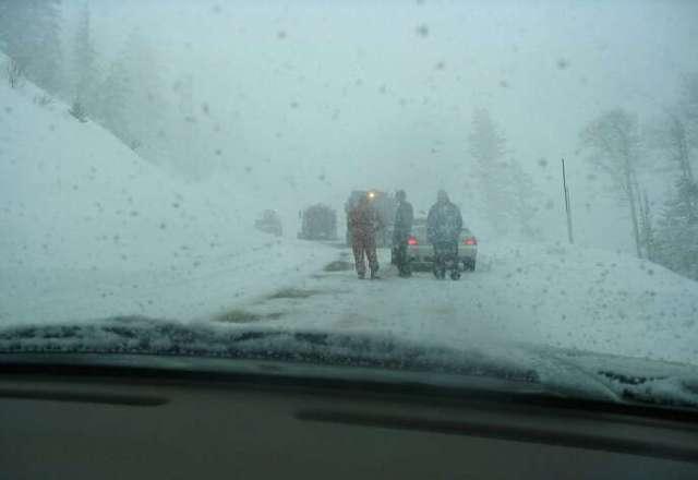 stuck behind a stuck snow plow!