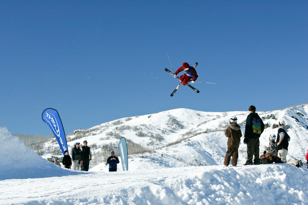 A skier gets big air during a competition in Snowmass, Colorado