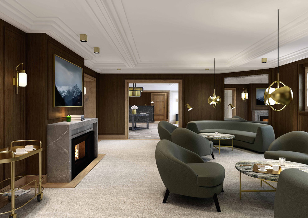 Lobby of the new Oetker Collection Hotel l'Apogée Courchevel