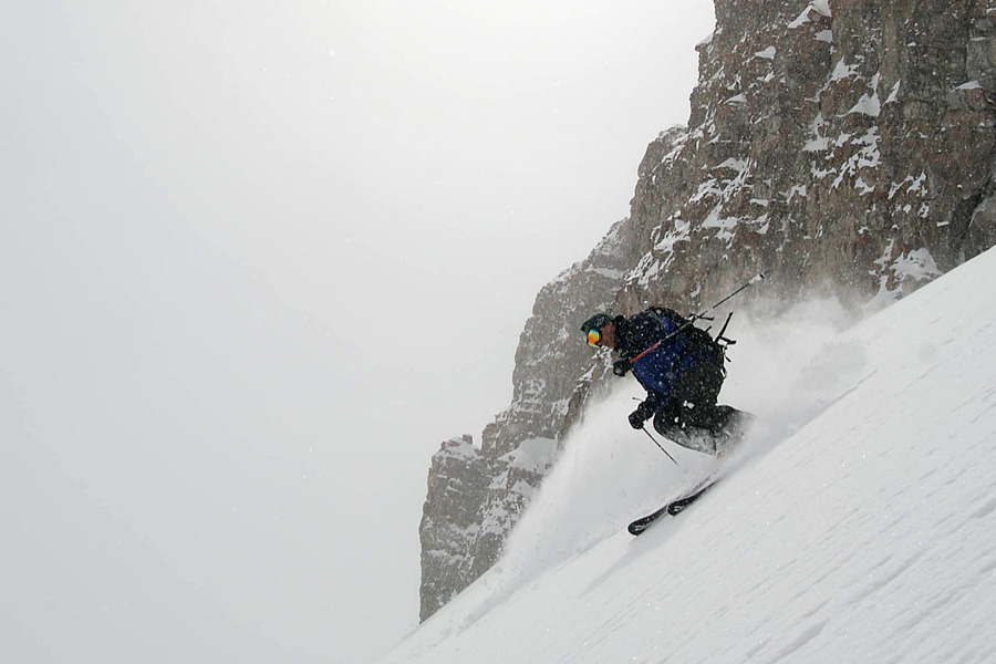 A skier takes on the mountain in Jackson Hole, Wyoming