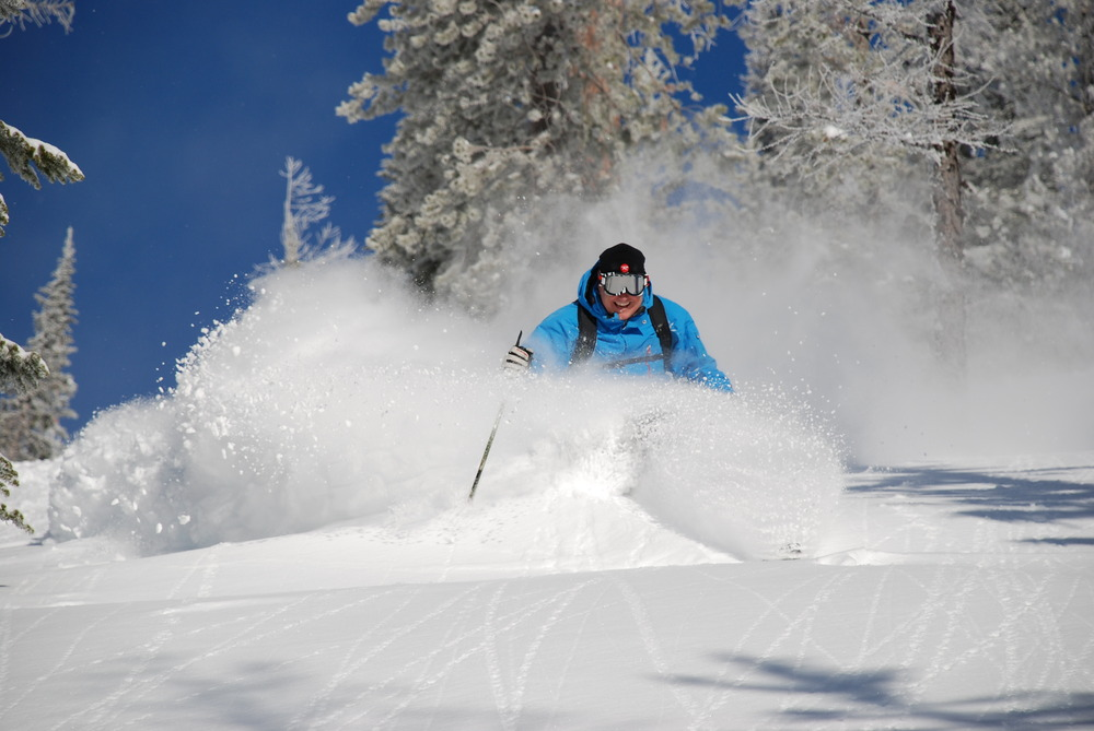 A skier creates new tracks in powder in Schweitzer Mountain, Idaho