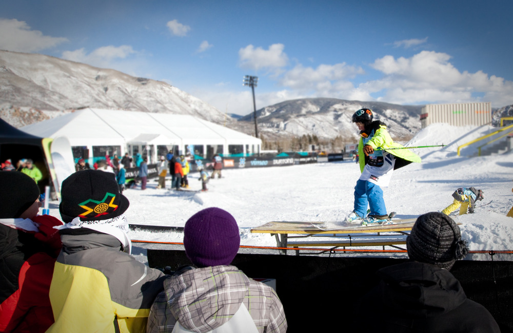 Kids watch as their friends are given a chance to ski and snowboard in the Street course. Photo by Sasha Coben