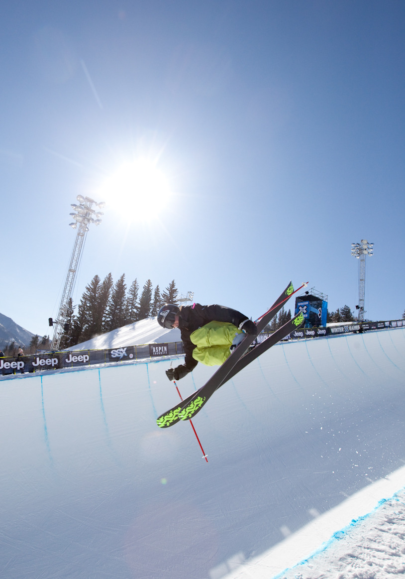 Brita Sigourney took 3rd place in the women's skiing superpipe finals on Saturday. Photo by Sasha Coben