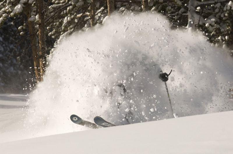 This skier is engulfed in powder in Keystone, Colorado