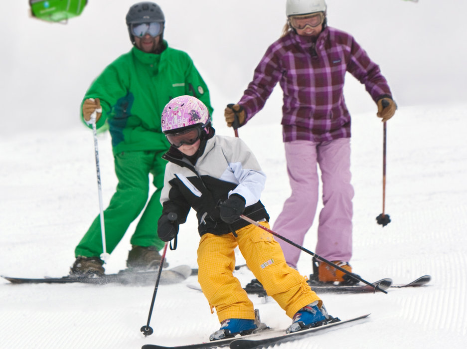 A family skis together at Silver Mountain. Photo courtesy of Silver Mountain