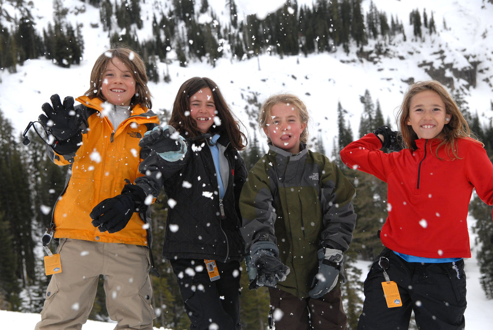 A snowball fight breaks out at Sugar Bowl Ski Resort, California