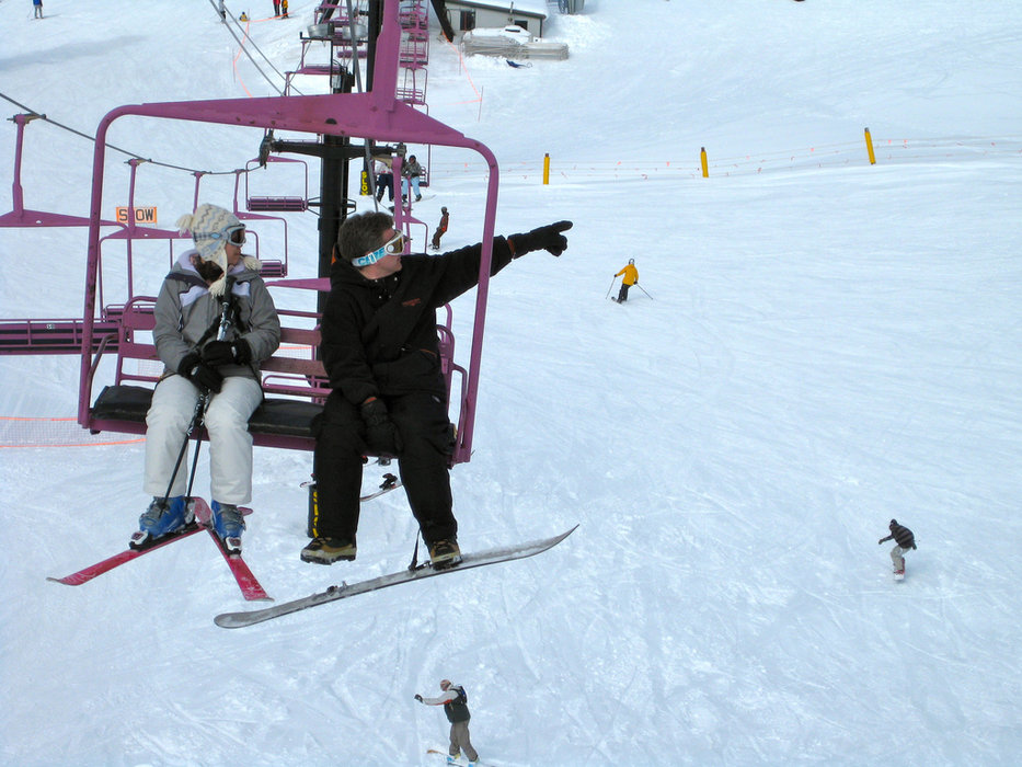 Skiers ride the Red Chair at Stevens Pass. Photo by Katie and Ian/flickr
