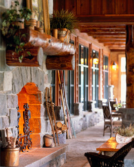 Hearth in meeting space at Whiteface Lodge  - ©Whiteface Lodge