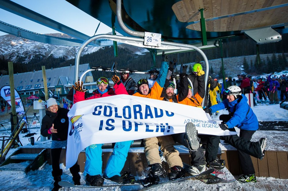Thousands of excited skiers and riders came out for A-Basin's opening day, Oct. 13, 2013 - ©Arapahoe Basin Ski Area