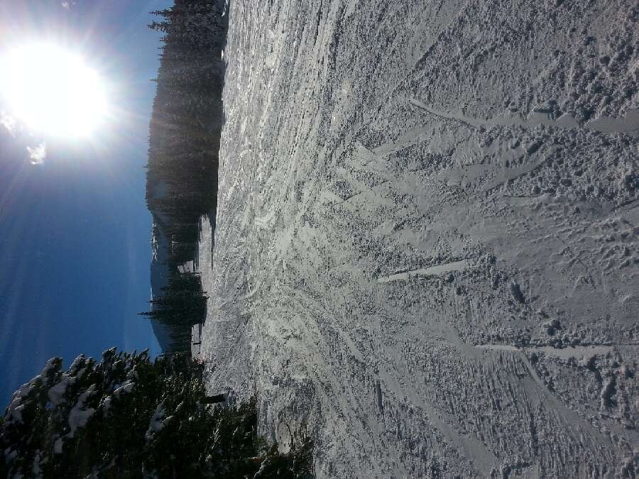 2 o'clock on a Saturday, beautiful day on the ski hill .   packed powder everywhere, a little crispy off the eagle side.