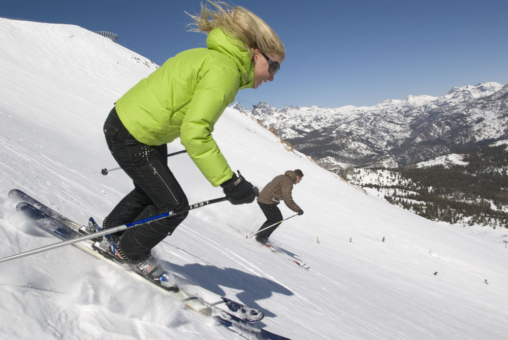 A skier goes down a run in Mammoth Mountain, California