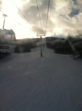 Bluebird day only a few clouds plenty of powder on trails, awesome day at stratton!