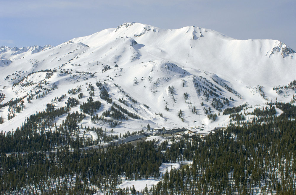 A view of snow covered Mammoth Mountain, California
