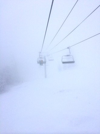 Snow was good and the backside was open but visibility sucked. Ice storms all day and lots of fog up top. But great runs and hardly any people.