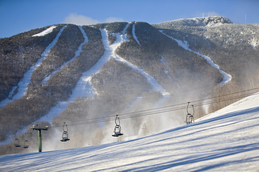 Lifts of Stowe, Vermont and a mountain