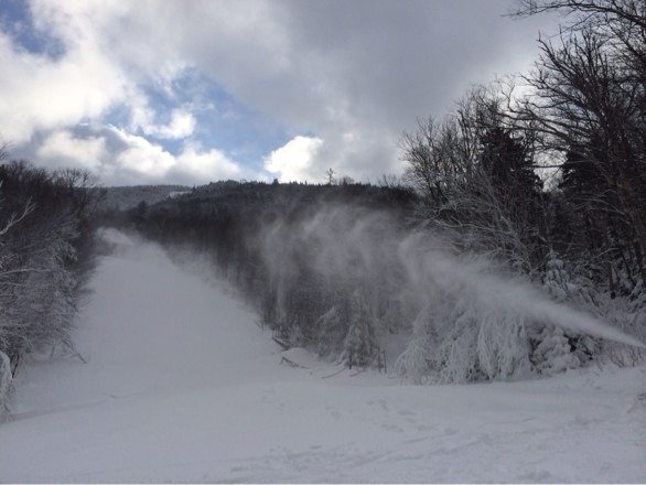 Conditions started off nice.  Too many skiers not enough terrain open. Blowing some snow tho. Getting skied off quickly.