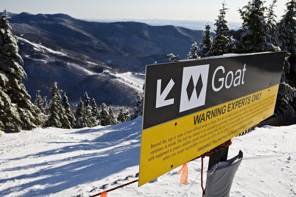 A view of a warning sign at Stowe, Vermont