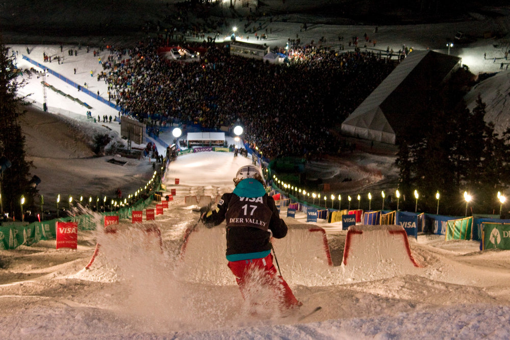 Bumps, jumps and big crowds line the Champion ski run at Deer Valley during the FIS Freestyle World Cup.