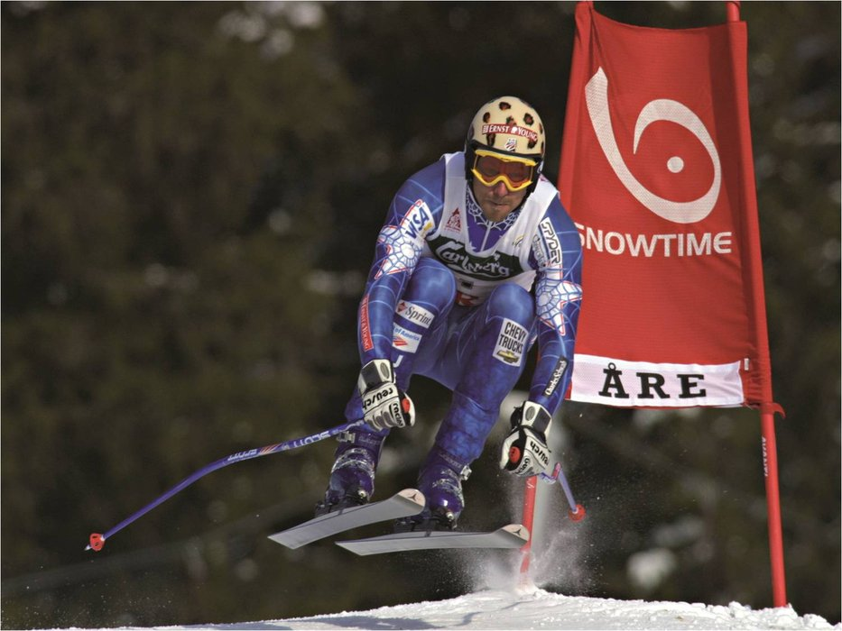 Chad Fleischer competes in the downhill in Are, Sweden.