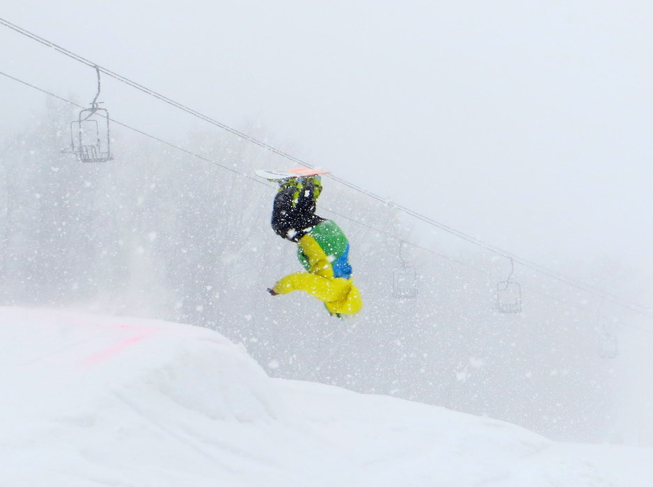 Flipping in flurries. - ©Bretton Woods, NH