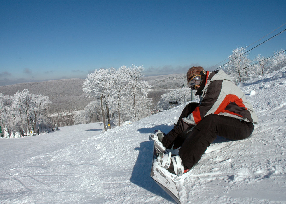 Snowboarder in Seven Springs