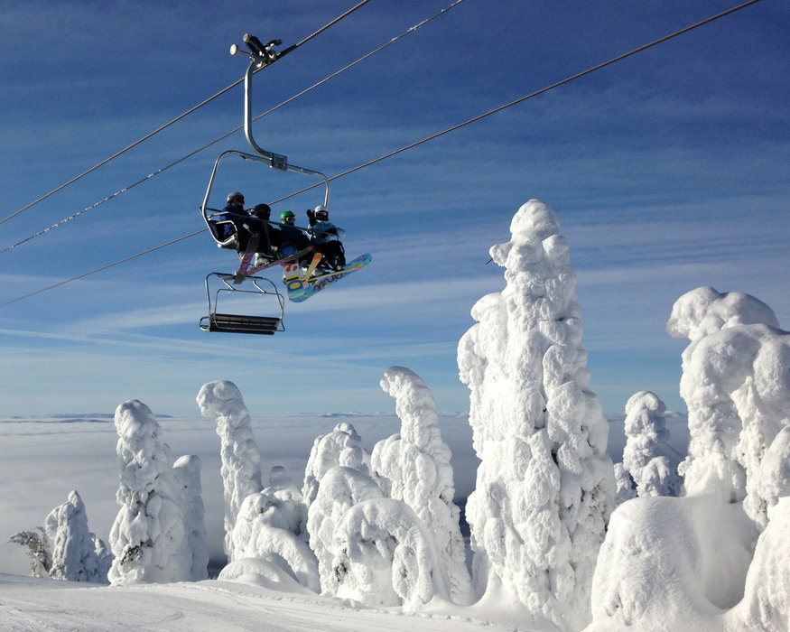 Snow ghosts, ice-crusted firs, are icons at the summit of Whitefish Mountain Resort.