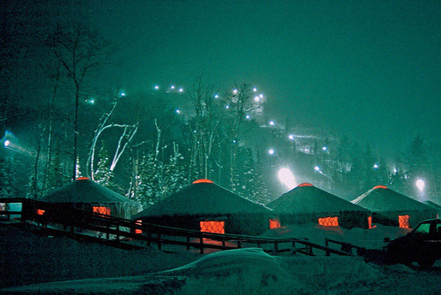 The Yurts at the base of Mount Bohemia provide cozy shelter for the night - ©Michigan Snowsports Industries Association