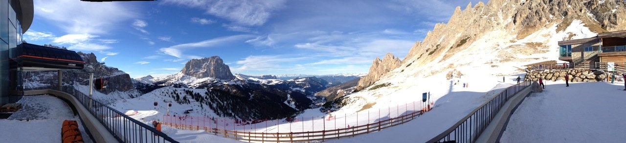 Panorama in Val Gardena. That big rock in the middle is the Saslong, where the downhill track got its name.  - ©Travis Ganong