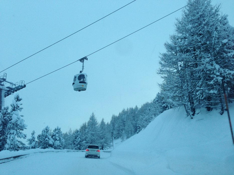 As always a very white and snowy drive to Borimo. Note to self: come back and powder ski here.  - ©Travis Ganong