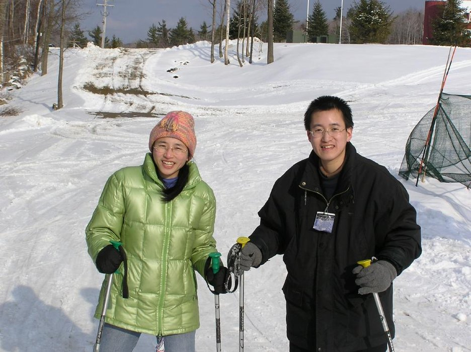 Two skiers pose for a photo at Ragged Mountain, New Hampshire