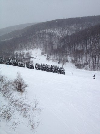 Great day not too cold.  Not very crowded.  All natural areas are covered except Turtle glades (both) which need another foot of fresh.  Wind blown powder in spots.  Waiting for snowstorm to get here.  Should be great tomorrow.