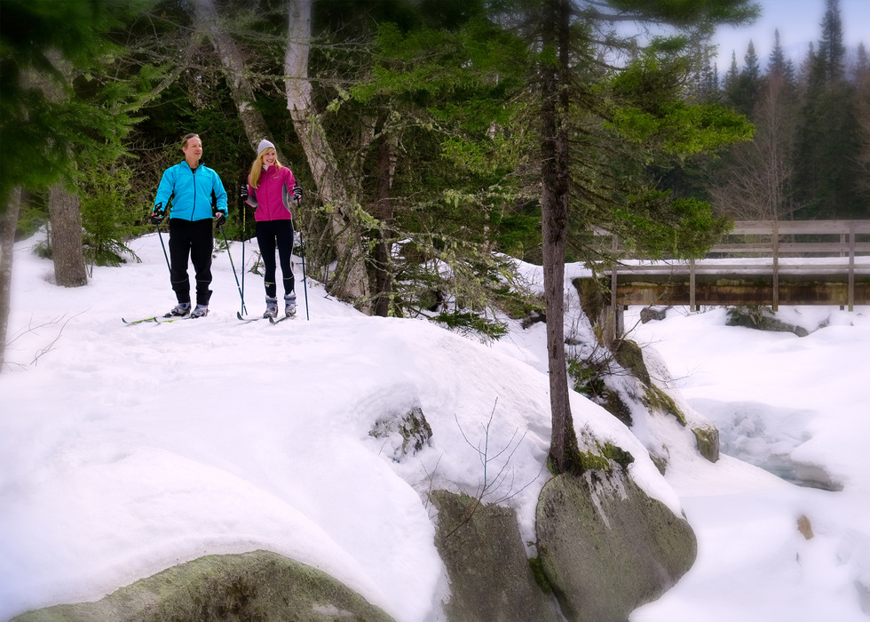 Two cross country skiers in the backcountry of Bretton Woods, New Hampshire