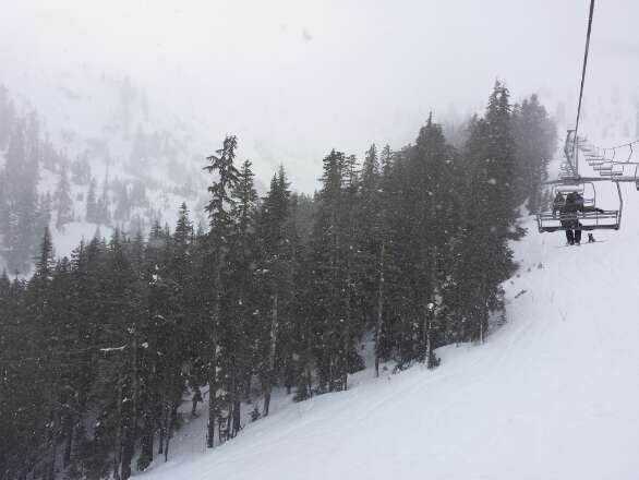 Heavy, wet snow that sticks to the skis. Good coverage but gotta do work to get through the slushy pow.