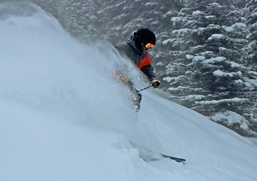 A skier floats powder at Brundage Mountain in Idaho. - ©Brundage Mountain Resort