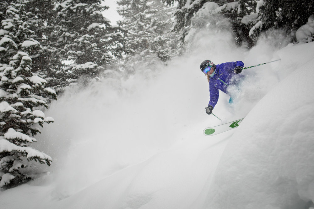 Darcy finding the deep stuff in the trees of Snowmass' Hanging Valley Glades.