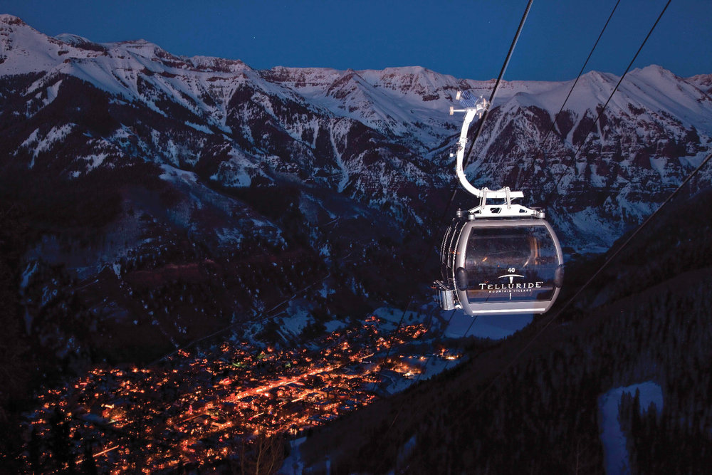 Nighttime descends on Telluride, Colorado.
