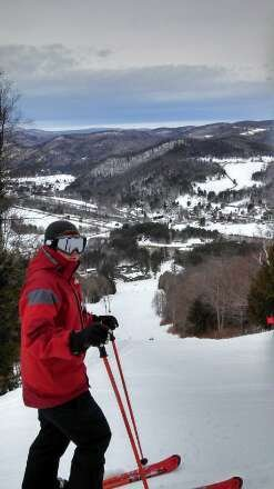 lots of snow,  wet and heavy.  Most of the mountain is open with no lines.  UMass is groomed and awesome.  Ski the steep.