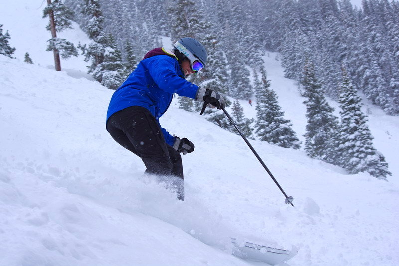 A skier enjoys the powder at Arapahoe Basin. - ©Photo courtesy Arapahoe Basin Ski Area.