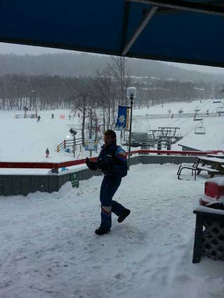 nice powder but with a vicious layer of ice underneath.  chair lifts are covered in ice so bring an extra bottom layer.