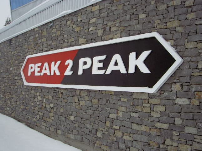 Signage for the Peak2Peak gondola at Whistler Blackcomb.