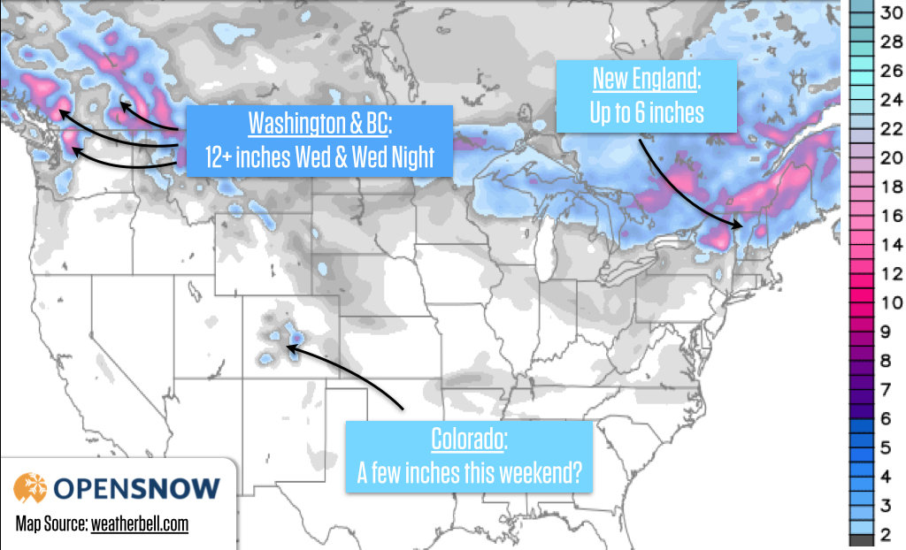 The snow forecast shows that you should be in Washington or British Columbia to find the deepest powder!