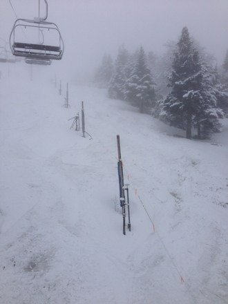Skiing a few inches of fresh. Spring skiing at K. Pretty awesome!