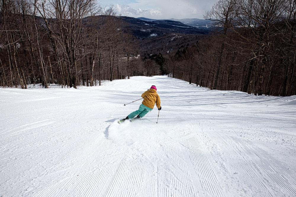 Mad River Glen skier, Moll Conroy loving the mid-week crowds. - ©Liam Doran